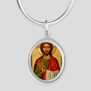 Christ The Teacher Silver Oval Necklace