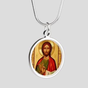 Christ The Teacher Silver Round Necklace