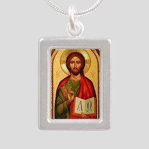 Christ The Teacher Silver Portrait Necklace