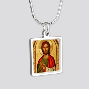 Christ The Teacher Silver Square Necklace