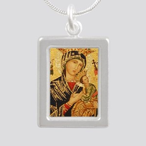 Our Lady of Perpetual He Silver Portrait Necklace