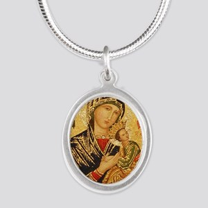 Our Lady of Perpetual Help Silver Oval Necklace