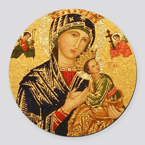 Our Lady of Perpetual Help Round Car Magnet