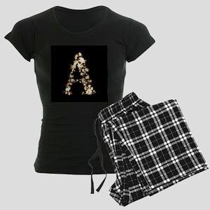gold star black monogram a Women's Dark Pajamas