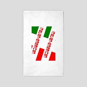 Tricolore Red Italian-American Designer Area Rug