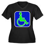 Handicapped Alien Women's Plus Size V-Neck Dark T-