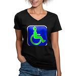 Handicapped Alien Women's V-Neck Dark T-Shirt
