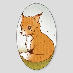 Cute Little Fox Sticker (Oval)