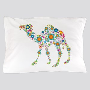 Colorful Retro Floral Camel Pillow Case