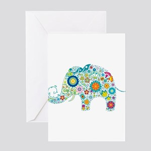 Colorful Retro Floral Elephant Greeting Cards