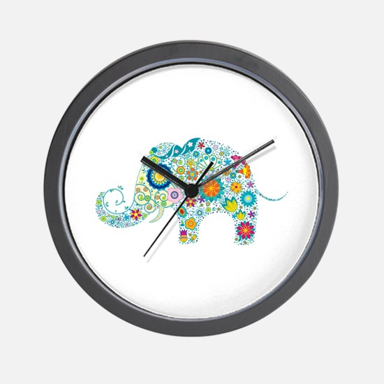 Colorful Retro Floral Elephant Wall Clock