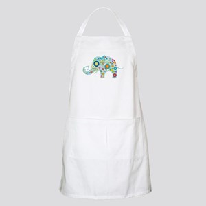 Colorful Retro Floral Elephant Apron