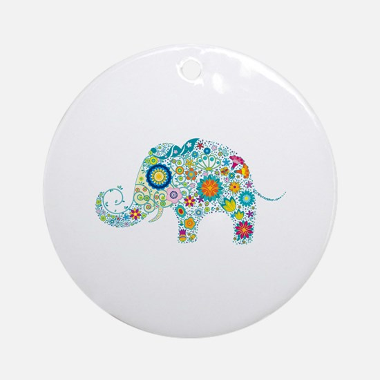 Colorful Retro Floral Elephant Ornament (Round)