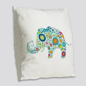 Colorful Retro Floral Elephant Burlap Throw Pillow