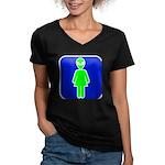 Alien Woman Women's V-Neck Dark T-Shirt