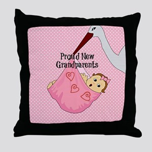Proud New Grandparents - Pink Throw Pillow