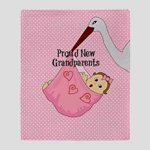 Proud New Grandparents - Pink Throw Blanket