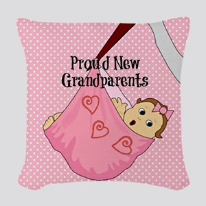 Proud New Grandparents - Pink Woven Throw Pillow