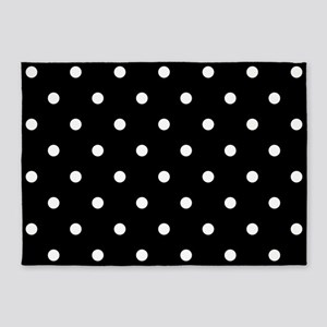 BLACK AND WHITE Polka Dots 5'x7'Area Rug
