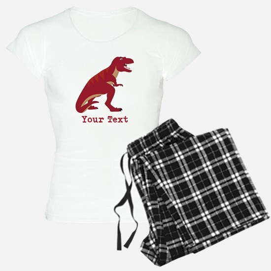 Red T-Rex Dinosaur with Custom text Pajamas
