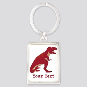 Red T-Rex Dinosaur with Custom text Keychains