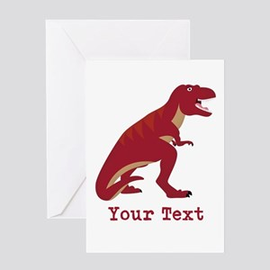 Red T-Rex Dinosaur with Custom text Greeting Cards