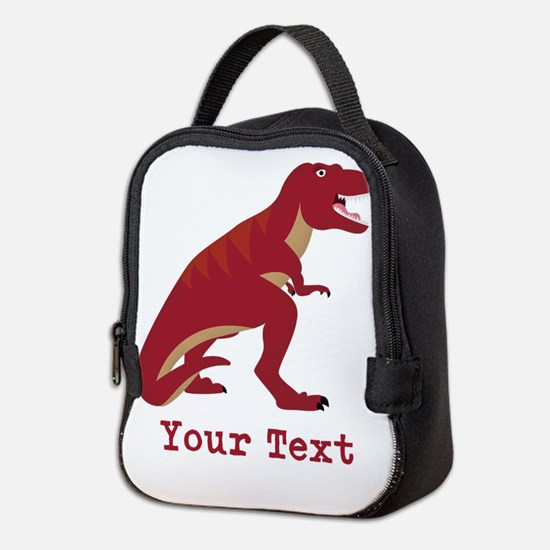 Red T-Rex Dinosaur with Custom text Neoprene Lunch
