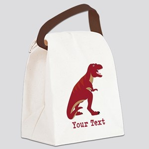 Red T-Rex Dinosaur with Custom text Canvas Lunch B
