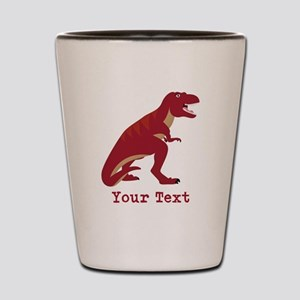 Red T-Rex Dinosaur with Custom text Shot Glass