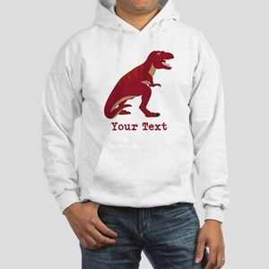 Red T-Rex Dinosaur with Custom text Hoodie