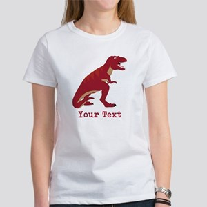 Red T-Rex Dinosaur with Custom text T-Shirt