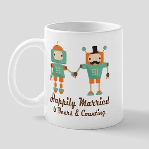 6th Anniversary Vintage Robot Couple Mug