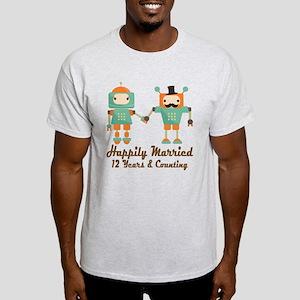 12th Anniversary Vintage Robot Coupl Light T-Shirt