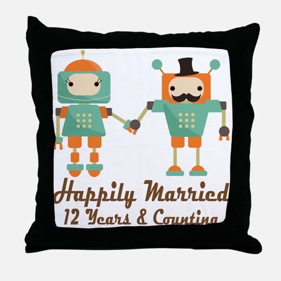 12th Anniversary Vintage Robot Coupl Throw Pillow