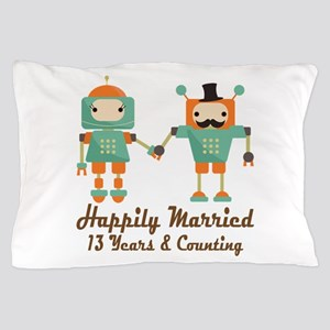 13th Anniversary Vintage Robot Couple Pillow Case