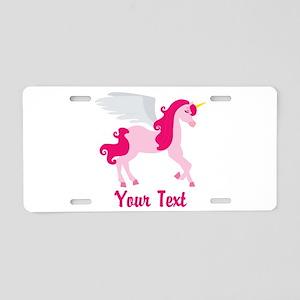 Cute Pink Flying Unicorn Aluminum License Plate
