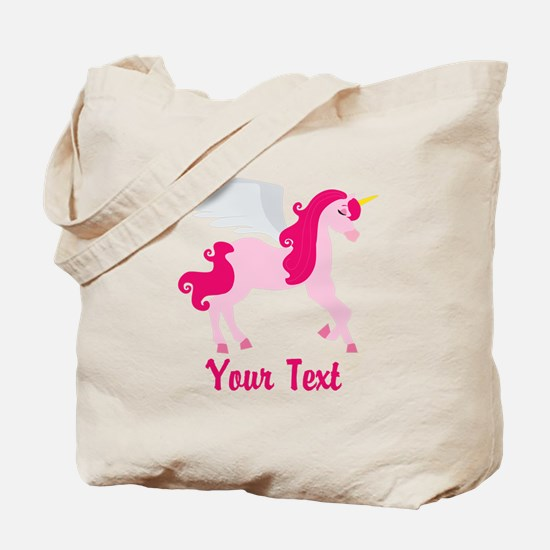 Cute Pink Flying Unicorn Tote Bag