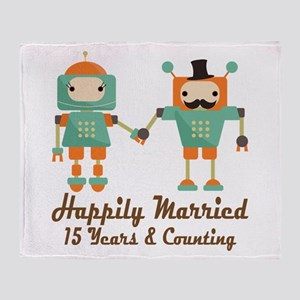 15th Anniversary Vintage Robot Coupl Throw Blanket