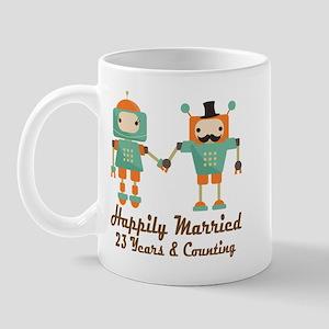 23rd Anniversary Vintage Robot Couple Mug