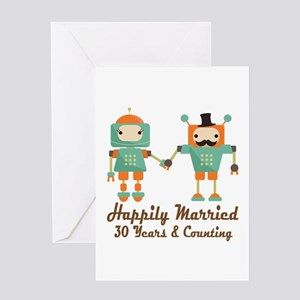 30th Anniversary Vintage Robot Coupl Greeting Card