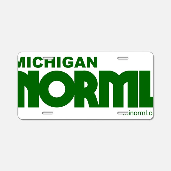 MINORML Logo Green with Mic Aluminum License Plate