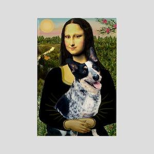 Mona Lisa/Cattle Dog Rectangle Magnet