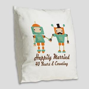 40th Anniversary Vintage Robot Burlap Throw Pillow