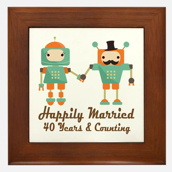 40th Anniversary Vintage Robot Couple Framed Tile