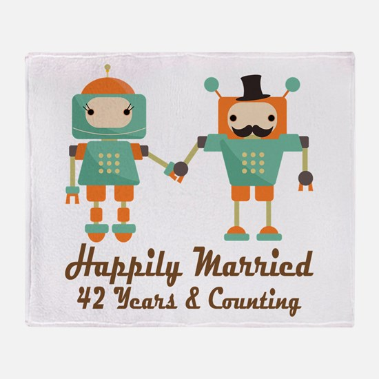 42nd Anniversary Vintage Robot Coupl Throw Blanket