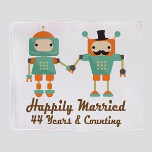 44th Anniversary Vintage Robot Coupl Throw Blanket