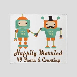49th Anniversary Vintage Robot Coupl Throw Blanket