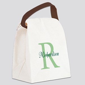 CUSTOM Initial and Name Green Canvas Lunch Bag