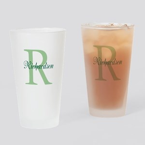 CUSTOM Initial and Name Green Drinking Glass