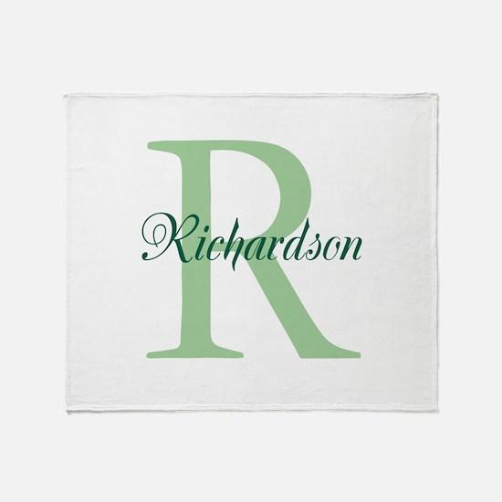 CUSTOM Initial and Name Green Throw Blanket